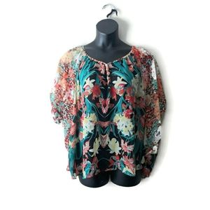Signature Studio Floral Dolman Sleeve Blouse XL